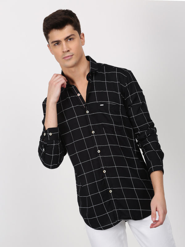 Black Checked Long Sleeve Casual Shirt