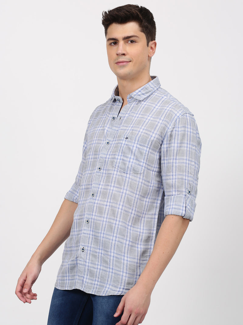 Grey Checked Long Sleeve Casual Shirt