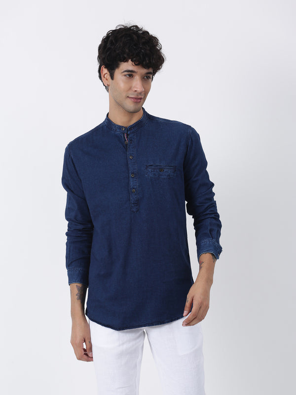 Blue Denim Long Sleeve Casual Kurta