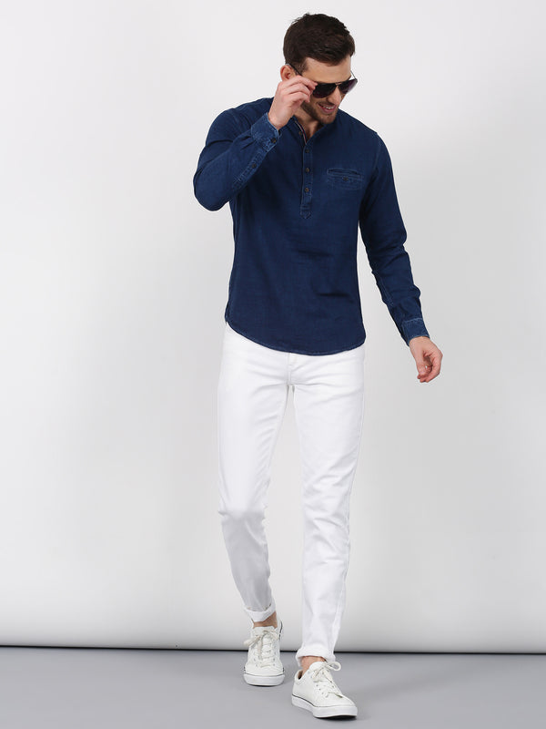 Navy Plain Long Sleeve Casual Kurta