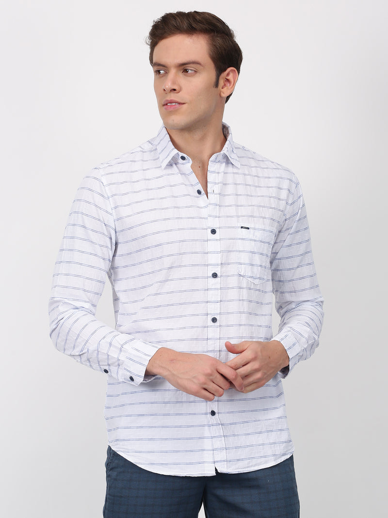 White Striped Long Sleeve Casual Shirt