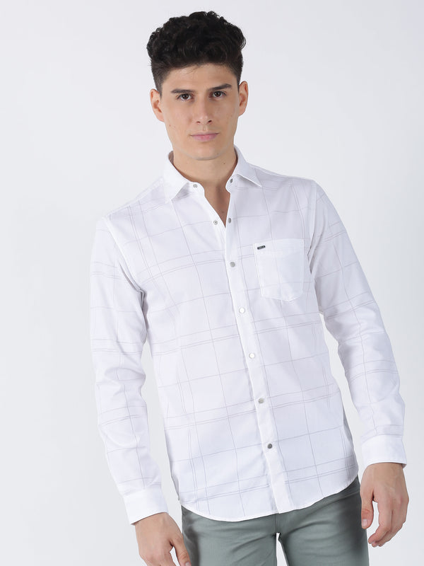 White Checked Long Sleeve Casual Shirt