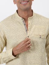 Yellow Printed Long Sleeve Casual Kurta