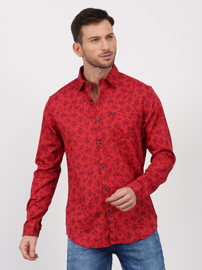 Red Printed Long Sleeve Casual Shirt
