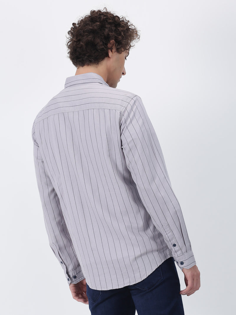 Grey Striped Long Sleeve Casual Shirt