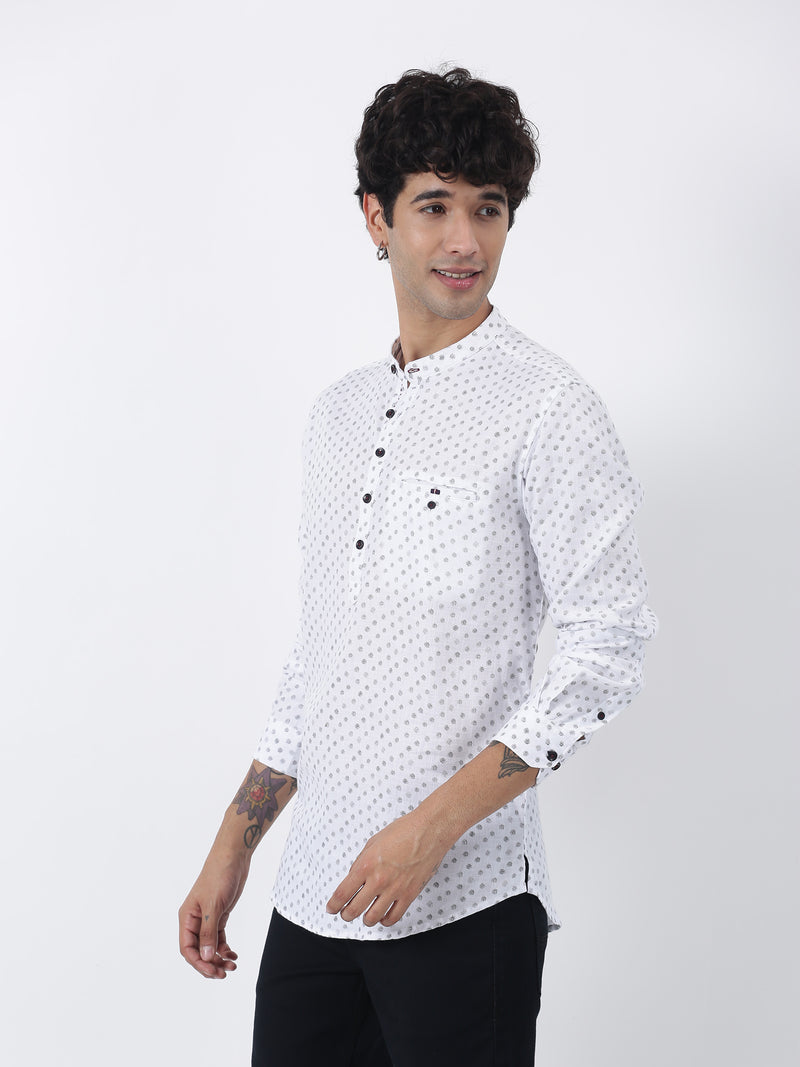 White Printed Long Sleeve Casual Kurta