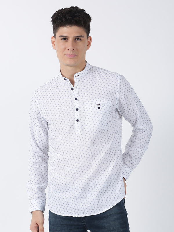 Blue Dotted Long Sleeve Casual Kurta
