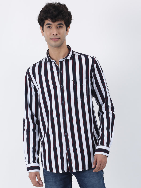 Maroon Striped Long Sleeve Casual Shirt