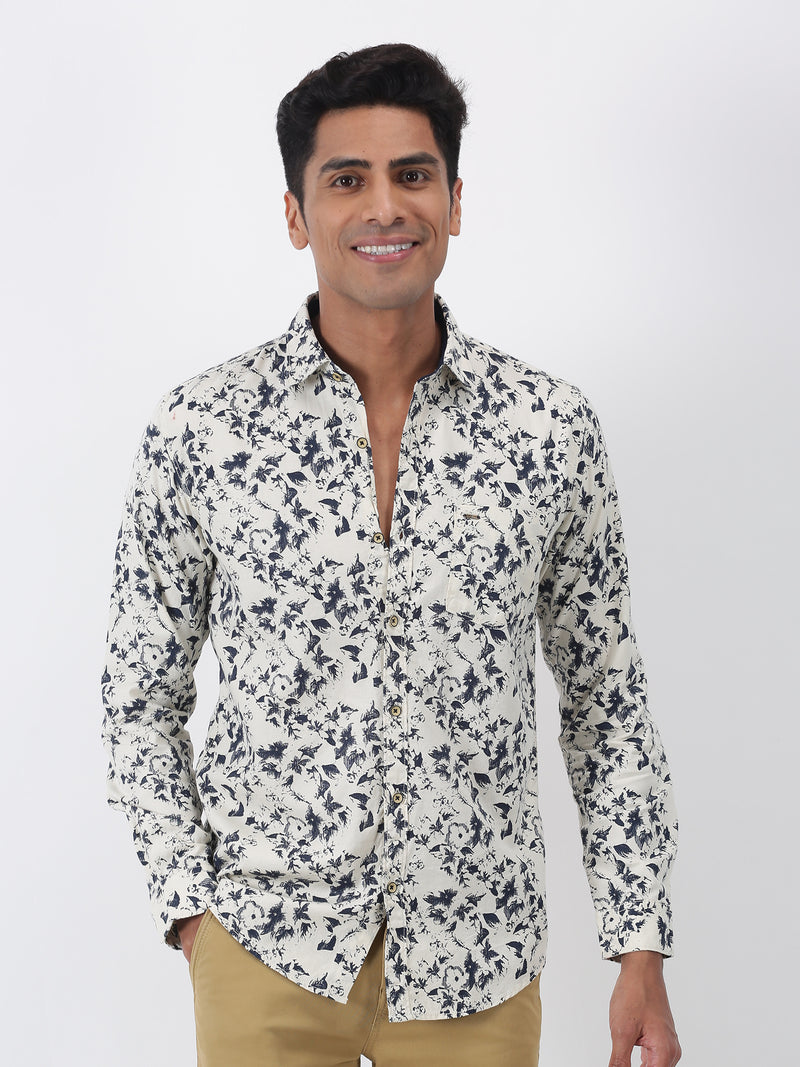 Cream Printed Long Sleeve Casual Shirt