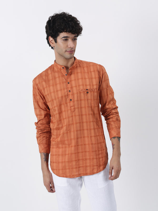 Orange Checked Long Sleeve Casual Kurta