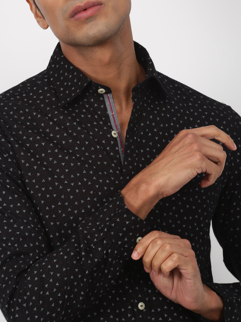 Black Printed Long Sleeve Casual Shirt