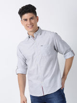 Grey Plain Long Sleeve Casual Shirt
