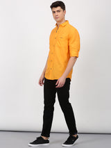 Gold Plain Long Sleeve Casual Shirt