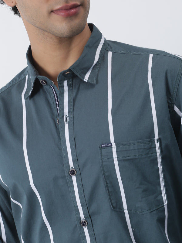 Green Striped Long Sleeve Casual Shirt