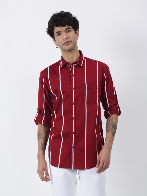 Brown Striped Long Sleeve Casual Shirt