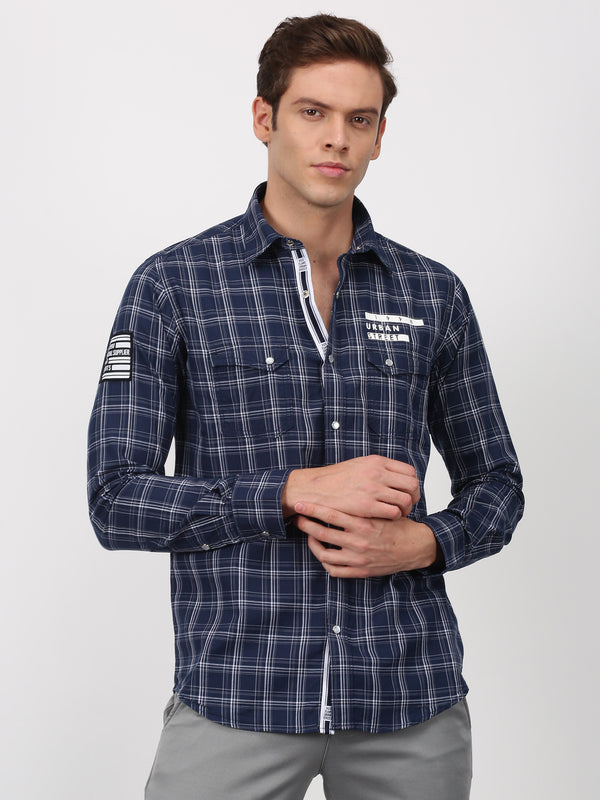 Navy Checked Long Sleeve Street Wear Shirt