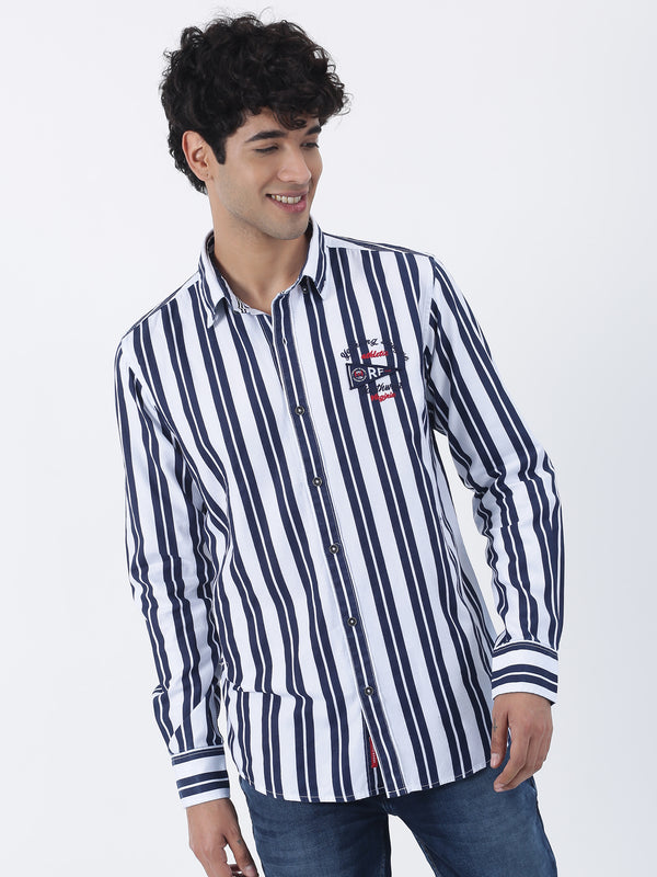 Blue Striped Long Sleeve Street Wear Shirt