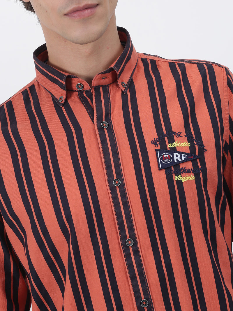 Orange Striped Long Sleeve Street Wear Shirt