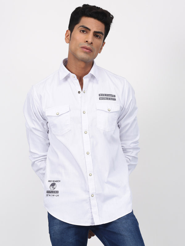 White Plain Long Sleeve Street Wear Shirt