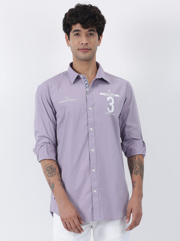 Purple Plain Long Sleeve Street Wear Shirt