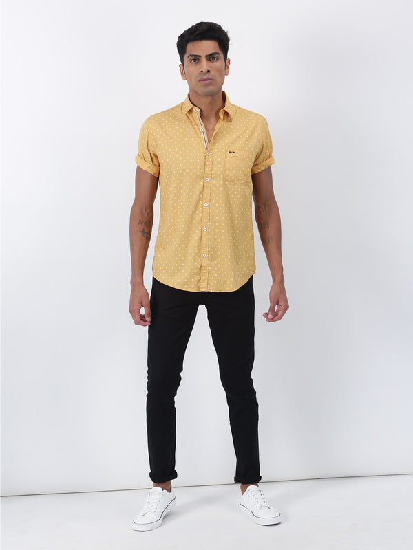 Yellow Printed Short Sleeve Casual Shirt