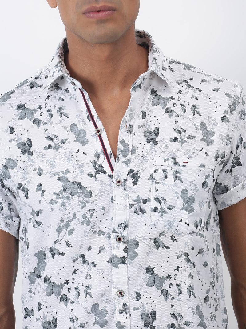 White Printed Short Sleeve Casual Shirt
