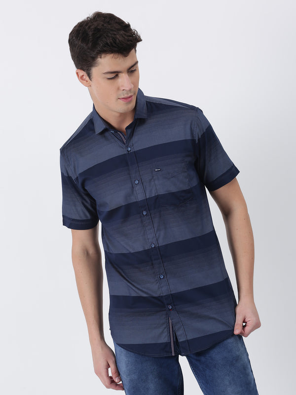 Navy Striped Short Sleeve Casual Shirt