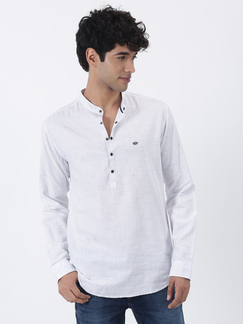 White Plain Long Sleeve Casual Kurta