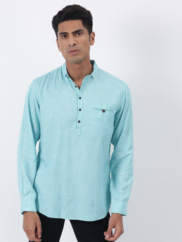 Aqua Green Plain Long Sleeve Casual Kurta