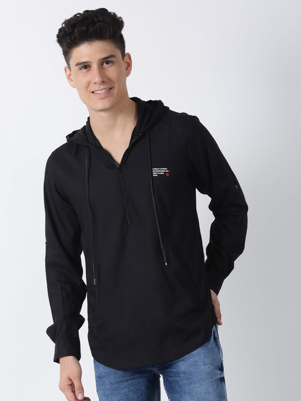 Black Plain Long Sleeve Street Wear Shirt