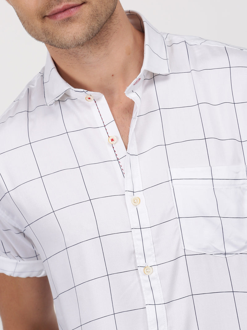 White Checked Short Sleeve Casual Shirt