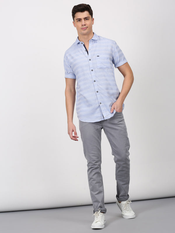 Blue Plain Short Sleeve Casual Shirt