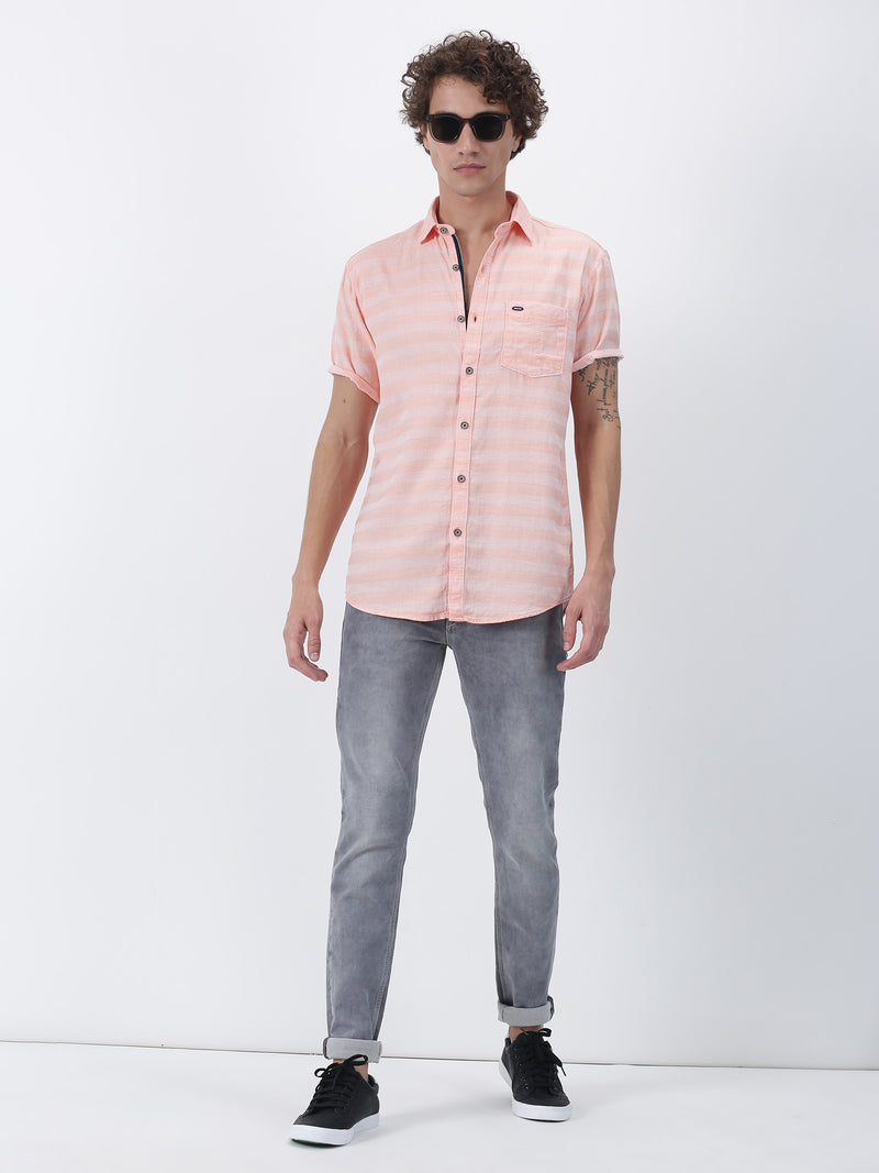 Red Plain Short Sleeve Casual Shirt