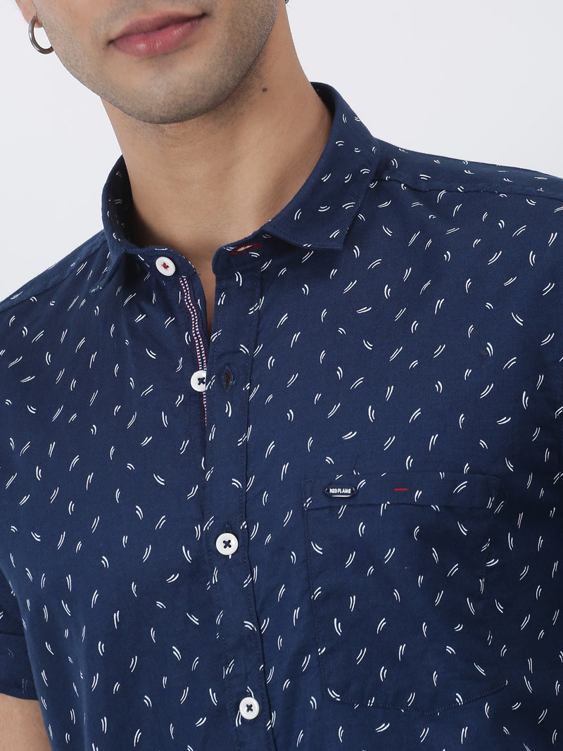 Navy Printed Short Sleeve Casual Shirt