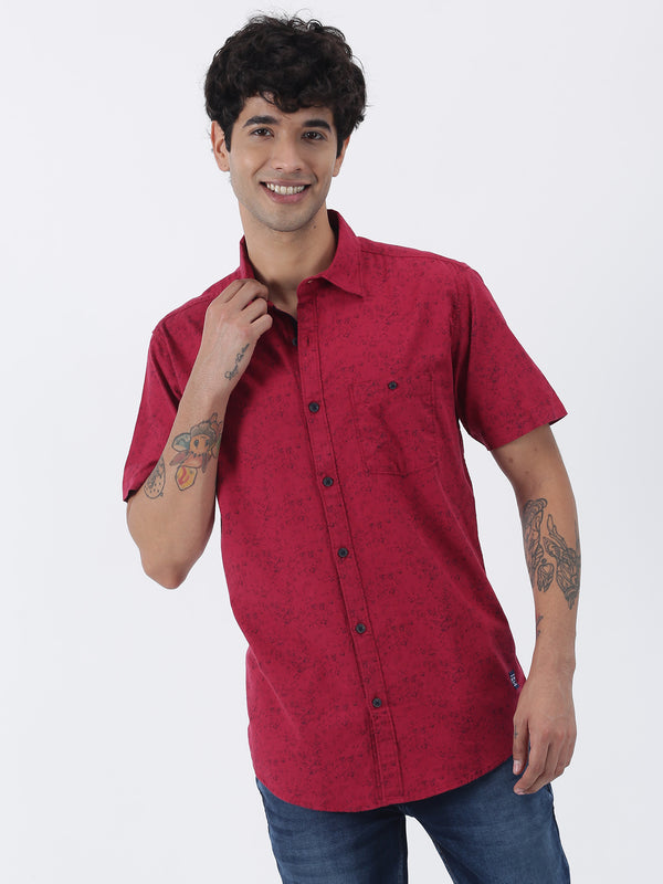 Maroon Printed Short Sleeve Casual Shirt