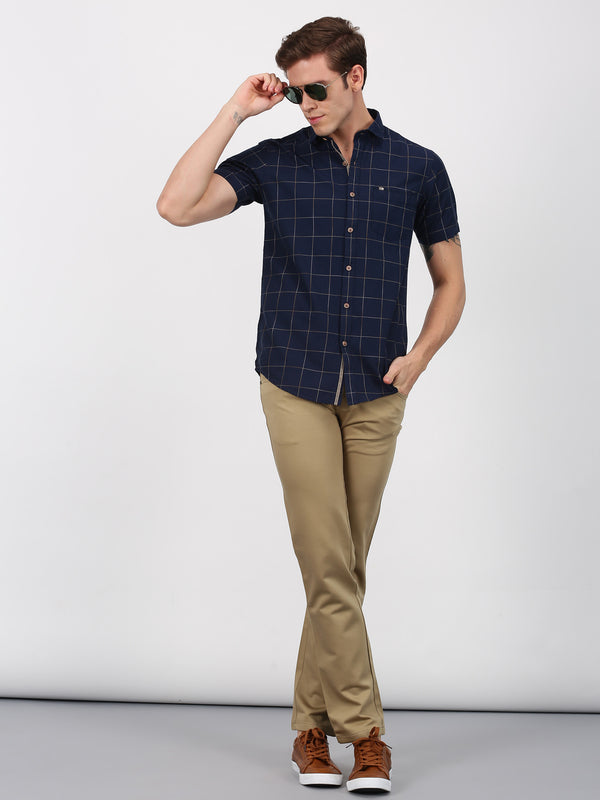 Navy Checked Short Sleeve Casual Shirt