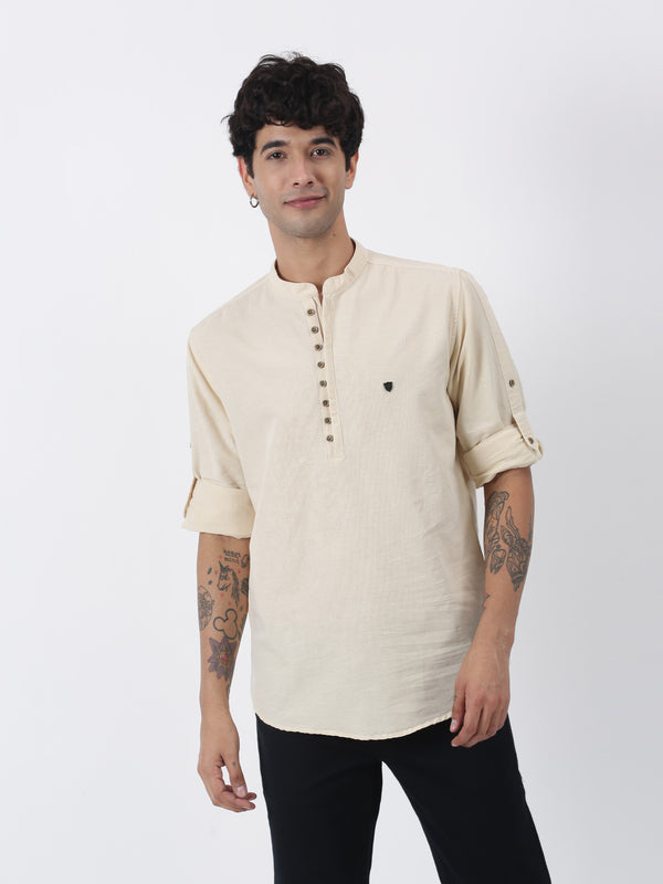Cream Plain Long Sleeve Casual Kurta