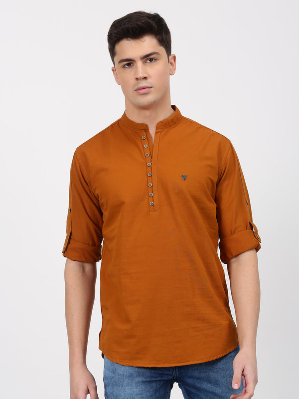 Brown Plain Long Sleeve Casual kurta