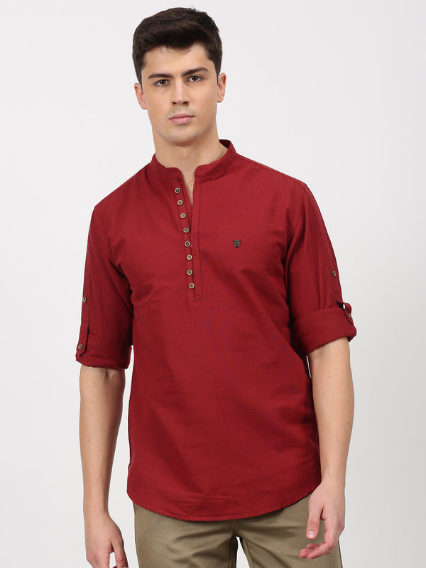 Maroon Plain Long Sleeve Casual kurta