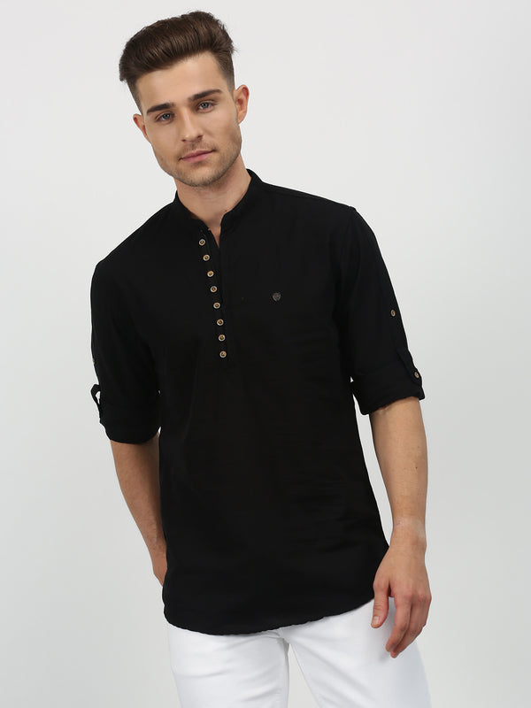Black Plain Long Sleeve Casual Kurta