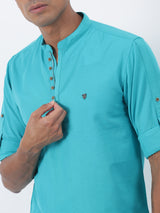 Aqua Blue Plain Long Sleeve Casual Kurta