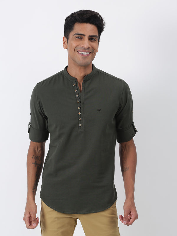 Olive Plain Long Sleeve Casual Kurta