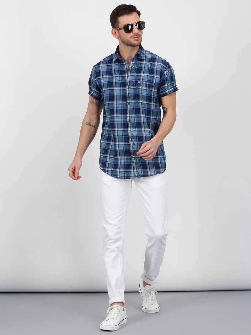 Blue Checked Long Sleeve Casual Shirt
