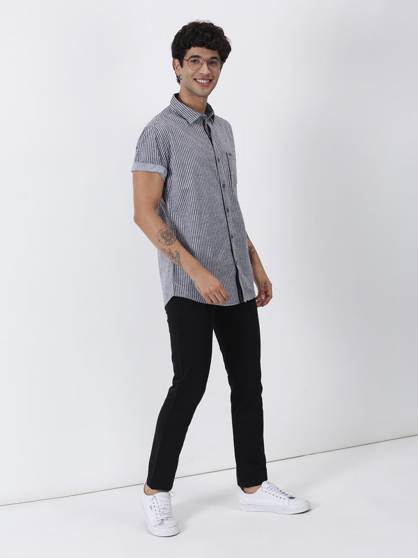 Black Striped Short Sleeve Casual Shirt