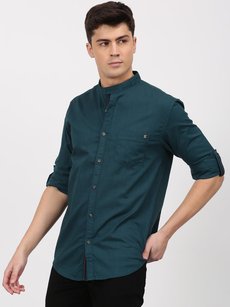 Dark Green Plain Long Sleeve Casual Shirt
