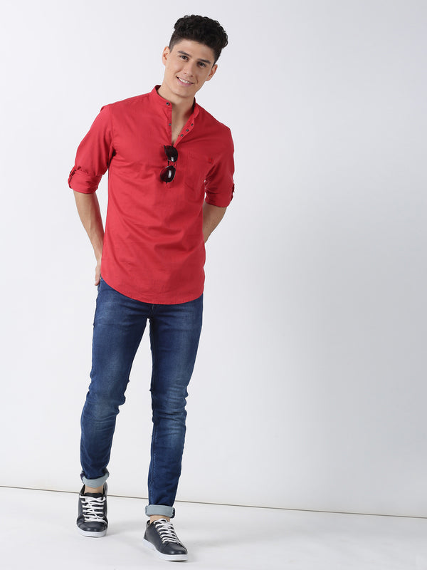 Red Plain Long Sleeve Casual Kurta