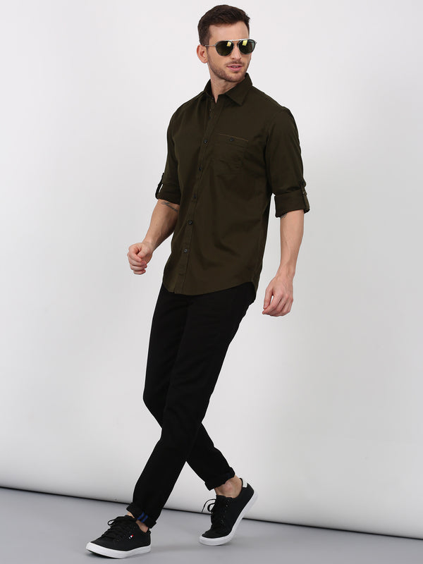 Brown Plain Long Sleeve Casual Shirt