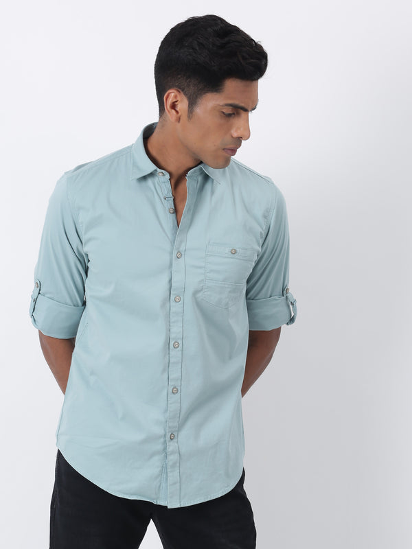 Sea Green Plain Long Sleeve Casual Shirt