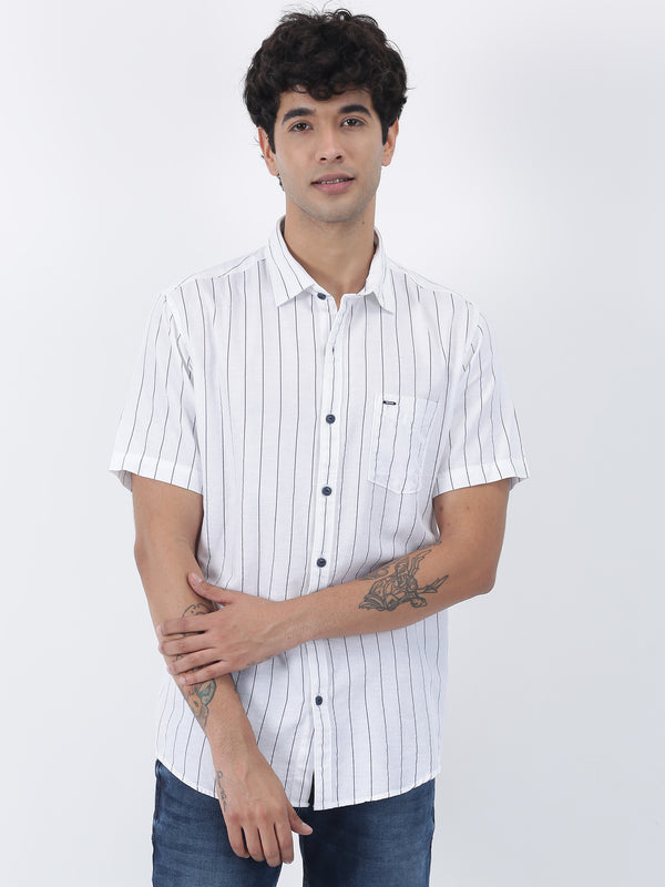 White Striped Short Sleeve Casual Shirt
