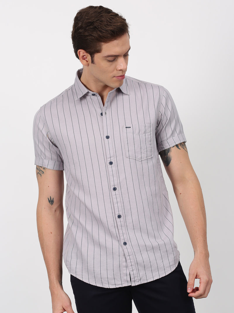 Grey Striped Short Sleeve Casual Shirt